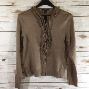 Lands End Tan Cardigan Women Size Small